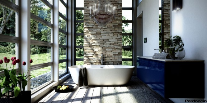Bathtubs with a View of Nature  Bathtubs with a View of Nature Blue bathroom vanity unit  home Blue bathroom vanity unit