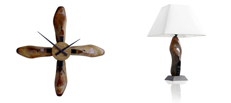 White Dove and Wonder Shoe Last Desk Lamp and Wall Clock