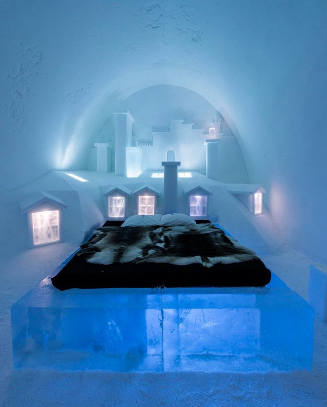 decor and style - winter destinations ice hotel sweden bedroom