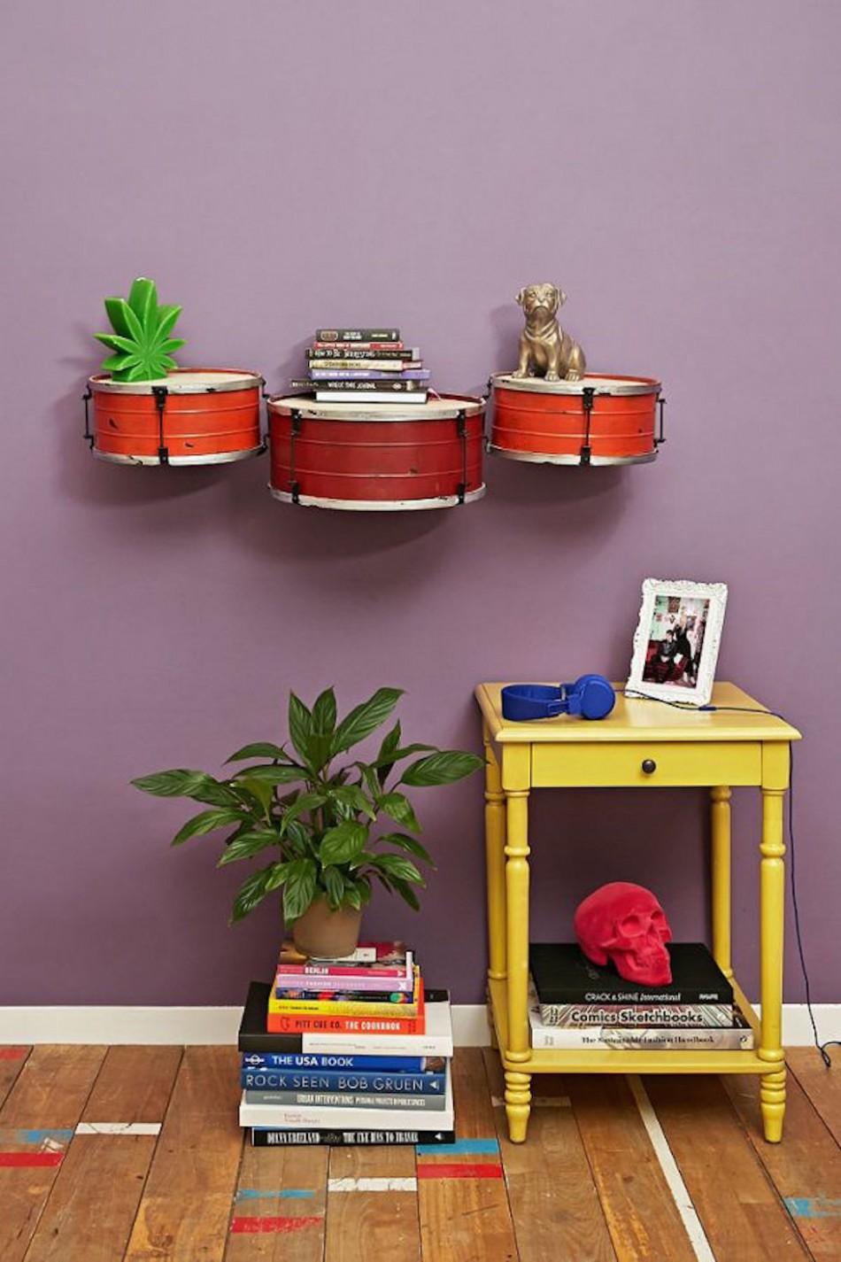 Interior design inspired by Music Interior design inspired by Music Drum shelves e1441191025561
