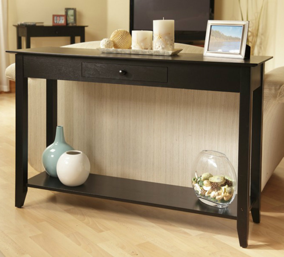 wood console tables Modern Wood Console Tables Black Console Table with Drawers