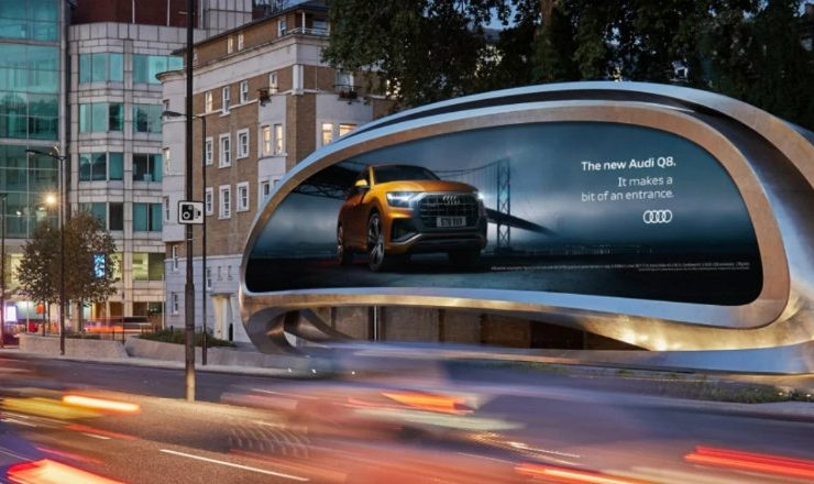 Zaha Hadid Design Unveils New Sculptural Billboard In London feat 1 740x440