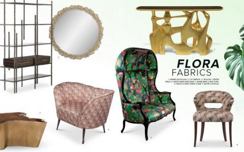 interior design trends Spring/Summer Interior Design Trends: Flora Fabrics and Its Succulent Patterns Moodboard FLORA FABRICS 480x300